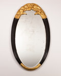 Furniture : French, Manner of SUE ET MARE. A Gilt and Black Lacquered Wood Mirror,circa 1925. 65 x 34-1/4 inches (165.1 x 87.0 cm). ...