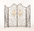 Furniture : French, A FRENCH PARCEL GILT WROUGHT IRON INTERIOR/VESTIBULE GATE. Circa1925. 68 x 80 inches (172.7 x 203.2 cm) overall. ... (Total: 2Items)