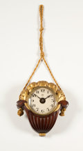 Clocks & Mechanical:Clocks, PAUL VERA FOR SUE ET MARE. A Patinated and Gilt Wood Clock. 10 x 9 inches (25.4 x 22.9 cm). ...