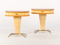 Furniture , A PAIR OF ITALIAN SYCAMORE, VELLUM, PEACH MIRRORED GLASS, AND BRASS BEDSIDE TABLES. Circa 1950s. Marks: Esse VI on glass... (Total: 2 Items)