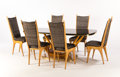 Furniture : Continental, DINING TABLE WITH SIX DINING CHAIRS EN SUITE. A Maple, Marble,Mirrored Glass, and Brass Dining Table with Six Limited Editi...(Total: 7 Items)