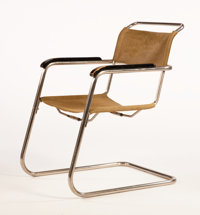 Attributed to MARCEL BREUER A Chrome Plated Metal and Black Lacquered Armchair, circa 1930 34 x 24 x 28 inches