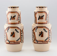 ROBERT LALLEMANT A Pair of Ceramic Vases, circa 1930 Marks: one bearing full label, one bearing partial label