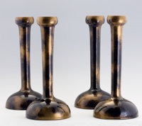 CLEMENT MASSIER A Set of Four Glazed Earthenware Candlesticks in the Japanese taste, circa 1900 Marks: C.M