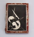 """Decorative Arts, French:Other , A BLACK LACQUERED AND COQ D'OEUF """"COCKTAIL"""" CIGARETTE CASE. Circa1925-1930. Marks: bearing poincon of the artist. 3-1/4 inc..."""