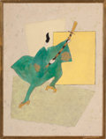 Fine Art - Work on Paper:Drawing, RAYMOUND LOEWY. Japanese Figure Clutching Sword, circa 1958.Mixed media. 25 x 19 inches (63.5 x 48.3 cm). ...