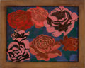 "Decorative Arts, French:Other , JEAN DUNAND. ""Roses et Fleurs"" A Lacquered Panel, circa 1925.Marks: signed. 16 x 12-1/2 inches (40.6 x 31.8 cm). ..."