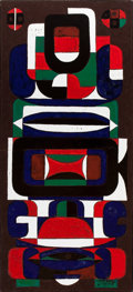 Fine Art - Painting, European:Contemporary   (1950 to present)  , AUGUSTE HARZIC. Abstract Composition, February 1971. Plaque.Signed and dated. 31 x 14 inches (78.7 x 35.6 cm). ...