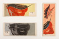 Fine Art - Painting, European:Contemporary   (1950 to present)  , CAYREL. Three Works Commemorating the Apollo 11 Moon Landing, circa 1970. Painting on paper laid on board. Bearing dedicatio...