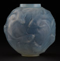 "Art Glass:Lalique, R. LALIQUE. ""Formose"" An Opalescent Glass Vase with blue patina,Marcilhac no. 934, designed 1924. Marks: impressed R. LAL..."