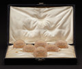 "Art Glass:Lalique, R. LALIQUE. ""Pinsons"" A Cased Set of Six Glass Menu Holders with sepia patina, Marcilhac no. 3501, circa 1935. Marks: engrav..."