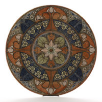 A MONUMENTAL HOLLAND EARTHENWARE WALL PLATE 1895-1905 Marks: painted factory mark, no. 827, and G