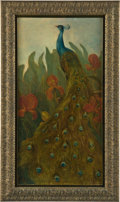 Fine Art - Painting, European:Antique  (Pre 1900), THEO VAN HOYTEMA. Peacock, circa 1894. Oil on canvas. Bookmark label of Van Hoytema dated 1895 and various annotations i...