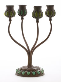 "PROPERTY FROM A FLORIDA COLLECTION  TIFFANY STUDIOS A Bronze and Favrile Glass Four-Light ""Jeweled"" Candelab..."