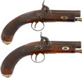 Military & Patriotic:Pre-Civil War, Exceptionally Quality and Condition Pair of English Percussion Belt Pistols by Samuel Nock, Circa 1835.... (Total: 2 Items)