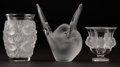 Art Glass:Lalique, LALIQUE. Three Frosted and Clear Glass Vases, modern. Marks:engraved Lalique ® France, two with MADE IN FRANCEpape... (Total: 3 Items)
