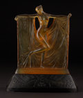 """Art Glass:Lalique, R. LALIQUE. """"Suzanne"""" An Amber Glass Figure on base, Marcilhac no. 833, designed 1925. Marks: molded R. LALIQUE. 9 inche..."""