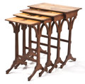 Furniture : French, PROPERTY FROM THE COLLECTION OF VLADIMIR KAGAN, NEW YORK. EMILEGALLÉ. A Set of Four Inlaid Fruitwood Nesting Tables, circ...(Total: 4 Items)