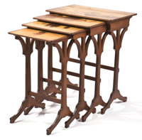 PROPERTY FROM THE COLLECTION OF VLADIMIR KAGAN, NEW YORK  EMILE GALLÉ A Set of Four Inlaid Fruitwood Nesting