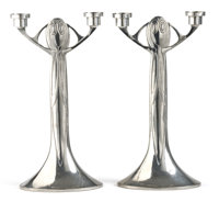 PROPERTY FROM A LOS ANGELES COLLECTION  JOSEPH MARIA OLBRICH FOR EDUARD HUECK, LÜDENSCHEID A Pair of Pewter