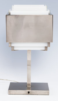 JEAN PERZEL A Nickel and Glass Table Lamp, circa 1940 17 x 8 x 5-1/2 inches (43.2 x 20.3 x 14.0 cm)