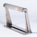 Decorative Arts, French:Lamps & Lighting, SABINO. A Nickel Plated Metal and Molded Glass Desk Lamp, circa1930. Marks: glass stamped Sabino. 12 x 18 x 4 inches (3...