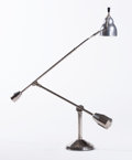 Decorative Arts, French:Lamps & Lighting, EDOUARD-WILFRID BUGUET. A Nickel Plated Metal Adjustable Desk Lamp,circa 1927. 45 x 31-1/2 inches (114.3 x 80.0 cm) fully e...