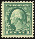Stamps, 1c Green, Perf. 10 at Top (498g),...
