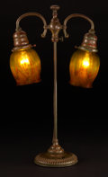 Decorative Arts, American:Lamps & Lighting, TIFFANY STUDIOS. A Bronze and Favrile Glass Double Student Lamp with double swing arm, model no. 304, circa 1900. Stamped on... (Total: 3 Items)