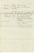 "Autographs:U.S. Presidents, Lincoln Law Partner, William Henry Herndon. Autograph DocumentSigned ""Lincoln & Herndon for Calibb"", also signed by JohnTo..."