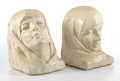 "Fine Art - Sculpture, American:Modern (1900 - 1949), META VAUX WARRICK FULLER. ""Silence and Repose"" A Pair of PaintedPlaster Bookends, circa 1930. Marks: each impressed MVWF,...(Total: 2 Items)"