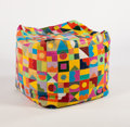 Furniture : French, A. MARCARD. A Leather Pouf. 24 x 24 x 24 inches (61.0 x 61.0 x 61.0cm). ...