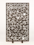 Furniture , ADALBERT-GEORGES SZABO. A Wrought Iron, Gold Leaf, and Steel Fire Screen, circa 1925-1930. 48 x 27 inches (121.9 x 68.6 cm)...