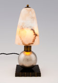 Decorative Arts, French:Lamps & Lighting, EDGAR BRANDT. A Wrought and Polished Metal Table Lamp withAlabaster Shade, circa 1930. 12-1/2 inches (31.8 cm) high. ...