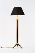 Lighting:Lamps, A FRENCH GILT AND LACQUERED WOOD FLOOR LAMP WITH SILK SHADE. Circa 1925. 72 inches (182.9 cm) high. ...