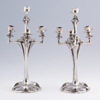 PROPERTY OF MICHAEL PLAYFORD, LONDON  A PAIR OF GERMAN SILVERED METAL CANDELABRA Circa 1900 18 x 10 inche