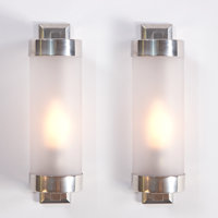 Attributed to BORIS LACROIX A Pair of Nickel Plated Metal and Frosted Glass Sconces, circa 1930 10 x 3 x 4 inch
