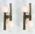 Decorative Arts, Continental:Lamps & Lighting, A PAIR OF ITALIAN CHROME PLATED METAL AND GLASS SCONCES . Circa1960. 19 x 8 x 5 inches (48.3 x 20.3 x 12.7 cm) each . ...