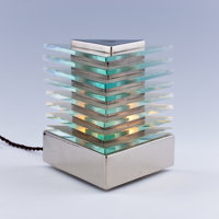 LA MAISON DESNY A Nickel Plated Metal and Glass Table Lamp, circa 1930 Marks: stamped 7 inches (17.8 cm) hig