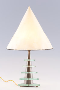 LA MAISON DESNY A Nickel Plated Metal and Glass Table Lamp with Parchment Shade, circa 1930 Marks: stamped 2