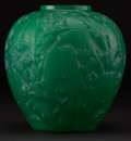 "Art Glass:Lalique, R. LALIQUE. ""Perruches"" A Cased Jade Green Glass Vase, Marcilhac no. 876, designed 1919. Marks: engraved R. Lalique France..."