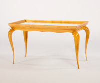 RENE PROU A Sycamore and Mirrored Glass Occasional Table, circa 1930 22 x 39 x 19 inches (55.9 x 99.1 x 48.3 cm
