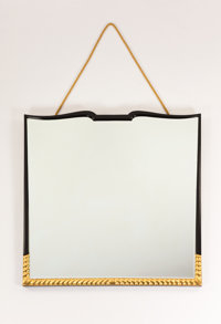 In the style of GIO PONTI An Italian Carved, Lacquered, and Gilt Wood Mirror, circa 1950 43 x 43 inches (109.2