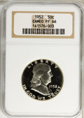 Proof Franklin Half Dollars: , 1952 50C PR66 Cameo NGC. NGC Census: (164/81). PCGS Population(92/27). Numismedia Wsl. Price for problem free NGC/PCGS co...