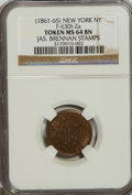 Civil War Merchants, (1861-65) Token New York NY, Jas. Brennan Stamps, Fuld-630I-2aToken MS64 Brown NGC....