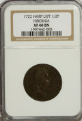 Colonials: , 1722 1/2P Hibernia Halfpenny, Type One, Harp Left XF40 NGC. NGCCensus: (1/10). PCGS Population (3/42). (#167). From Th...