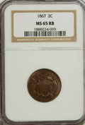 Two Cent Pieces: , 1867 2C MS65 Red and Brown NGC. NGC Census: (77/12). PCGS Population (49/2). Mintage: 2,938,750. Numismedia Wsl. Price for ...