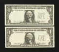 Error Notes:Third Printing on Reverse, Fr. 1913-J $1 1985 Federal Reserve Notes. Two Consecutive Examples. . ... (Total: 2 notes)