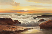 ROBERT WILLIAM WOOD (American, 1889-1979) Golden Sunset Oil on canvas 24 x 36 inches (61.0 x 91.4