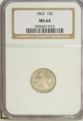 Seated Dimes: , 1862 10C MS64 NGC. NGC Census: (51/45). PCGS Population (39/30).Mintage: 847,000. Numismedia Wsl. Price for problem free N...